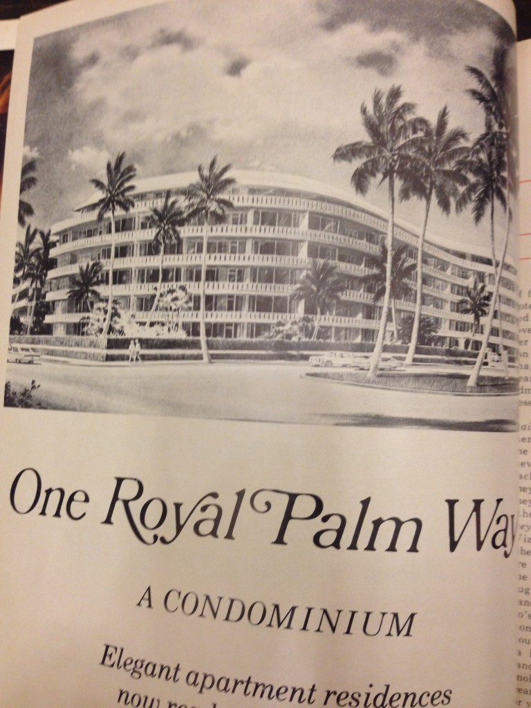 One Royal Palm Way Condominium, designed by Architect Howard Chilton